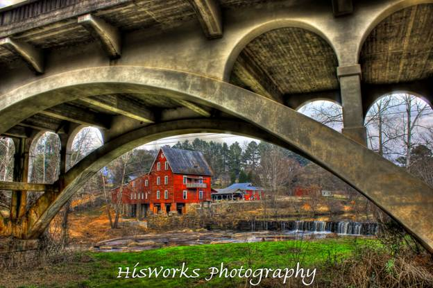 Millmore Mill on Shoulder Bone Creek as seen from under the Hwy 16 bridge between Eatonton and Sparta, GA.