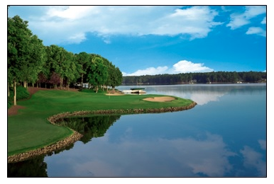 The 14th hole at Great Waters, designed by Jack Nicklaus, one of five resort golf courses at Reynolds Plantation.